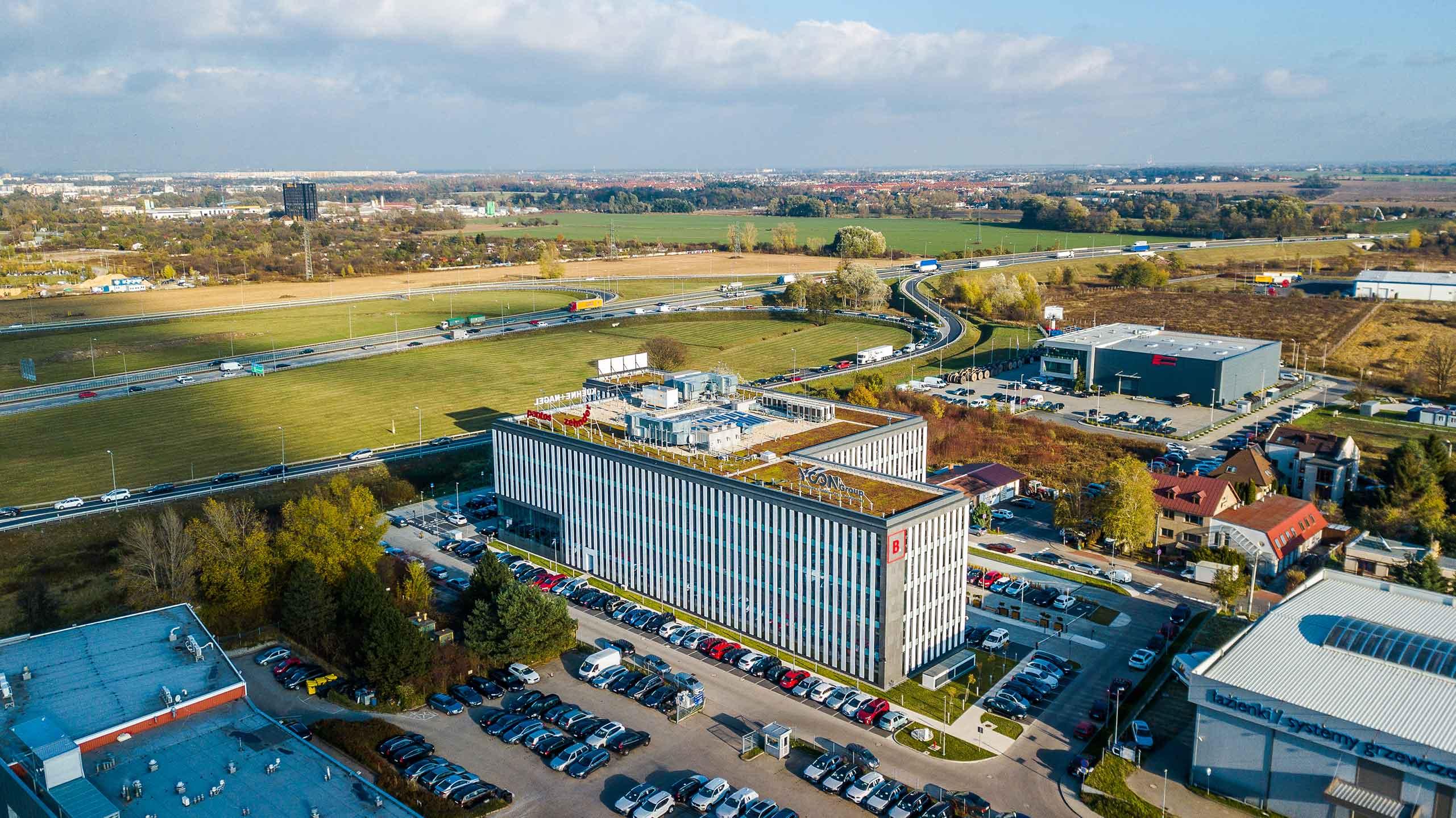 Dogodna lokalizacja biurowca na obrzeżach Wrocławia i przy autostradzie A4
